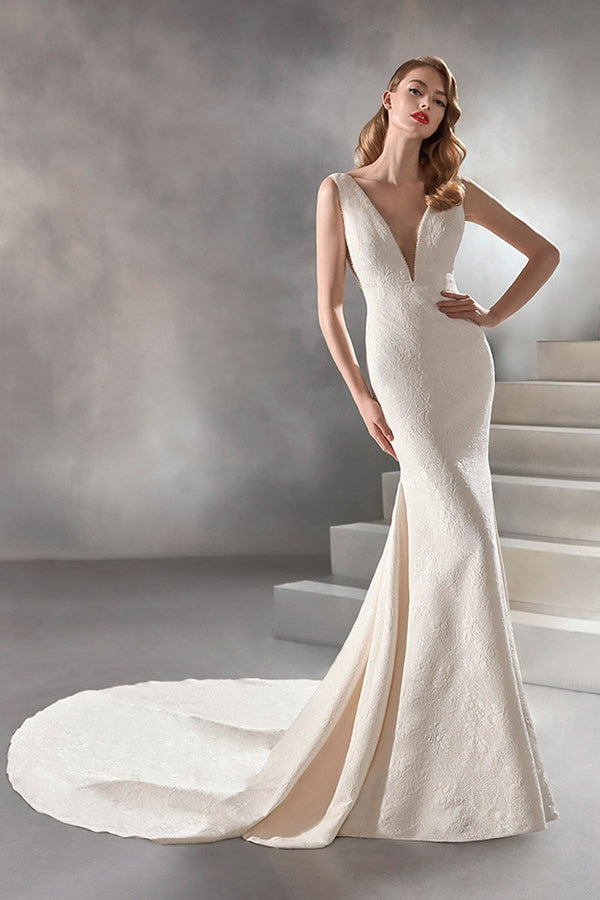 DEEP V-NECK JOSEPHINE BROCADE WEDDING DRESS