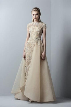 SAIID KOBEISY RE3360 GOLD APPLIQUED  GOWN WITH OVERSKIRT