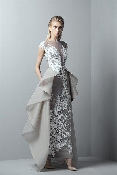 SAIID KOBEISY RE3369 LACE ILLUSION BATEAU DRESS WITH OVERSKIRT