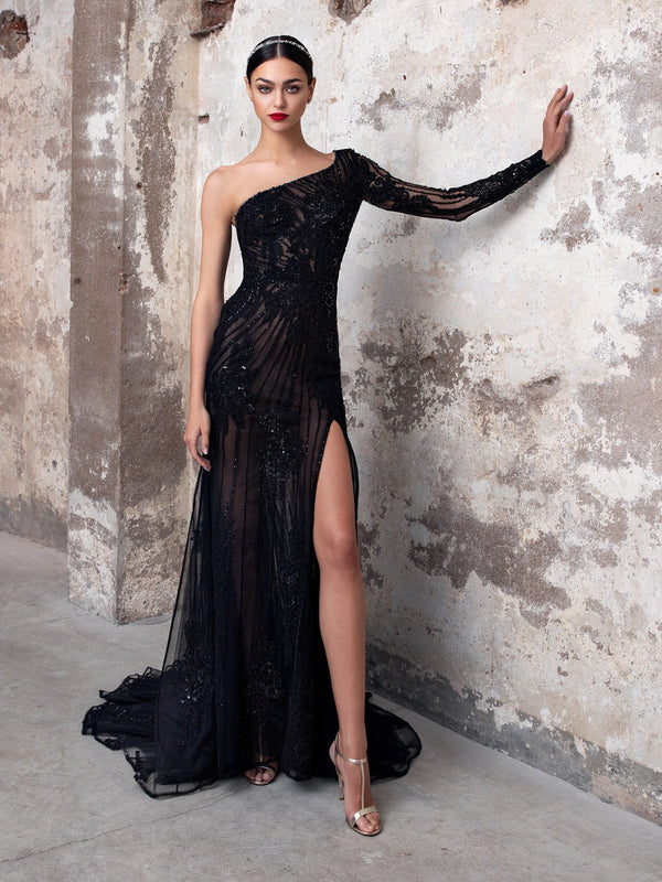Pronovias SAPPHIRE - The Black Wedding Dress. Stunning One-Shoulder Beaded Gown.