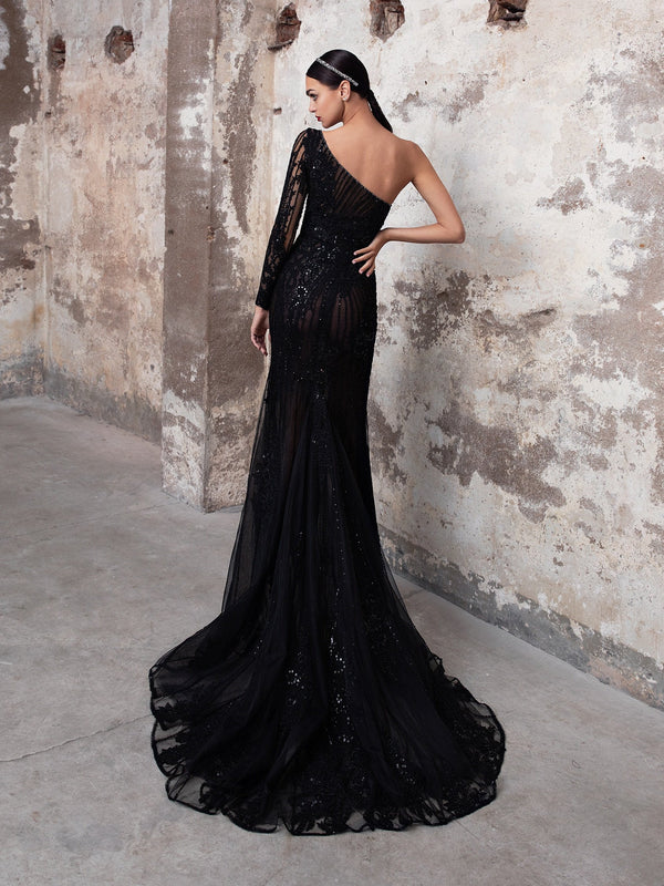 Pronovias SAPPHIRE - The Black Wedding Dress. Stunning One-Shoulder