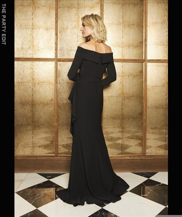 Pronovias td style 147-Straight cut black dress in crepe with long sleeves