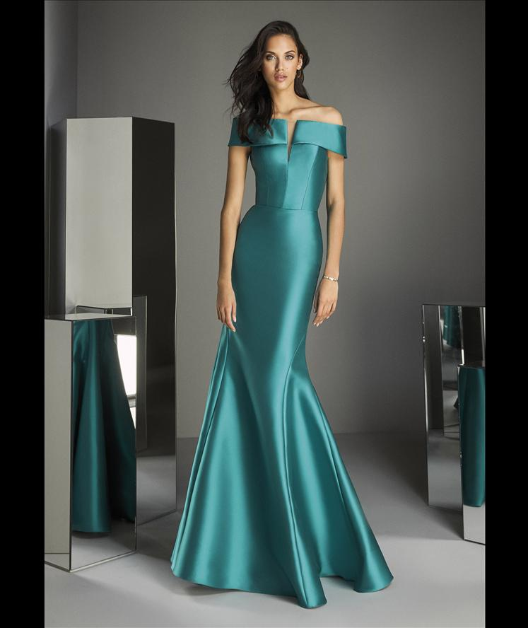 TE STYLE 89 Mermaid dress in mikado with off-the-shoulder sleeves