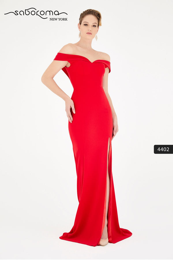 SABOROMA - 4402 OFF-SHOULDER MERMAID GOWN WITH SLIT red royal blue