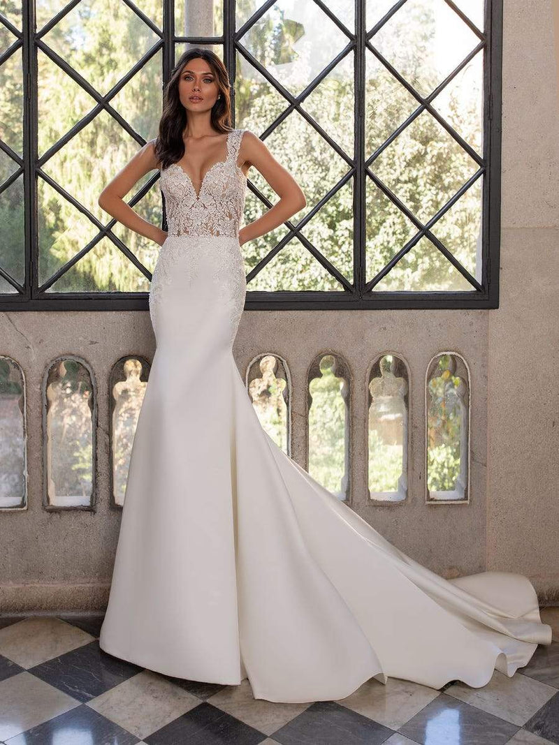 Pronovias CARLO CC2021 Mermaid wedding dress Queen Anne neckline