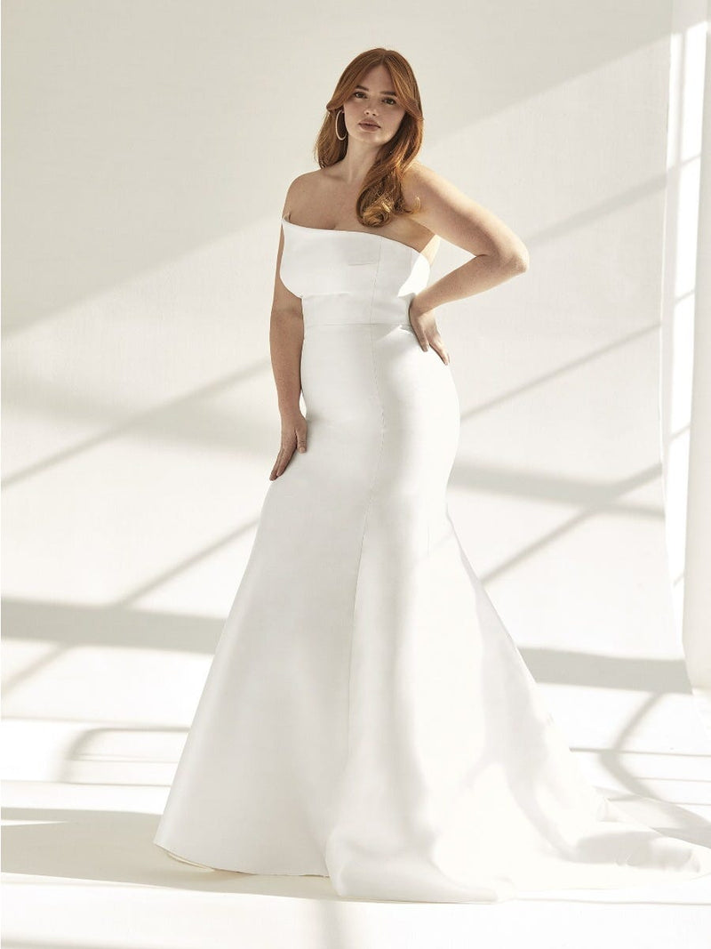 Pronovias DAY - Mermaid Wedding Dress in Mikado With Open Back plus size