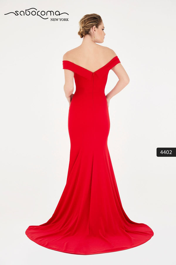 SABOROMA - 4402 OFF-SHOULDER MERMAID GOWN WITH SLIT back