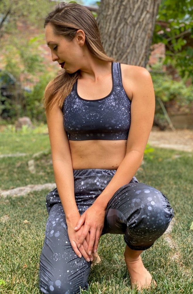 Load image into Gallery viewer, Black Glitter Sports bra