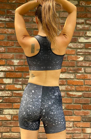 Load image into Gallery viewer, Black Glitter Yoga Shorts