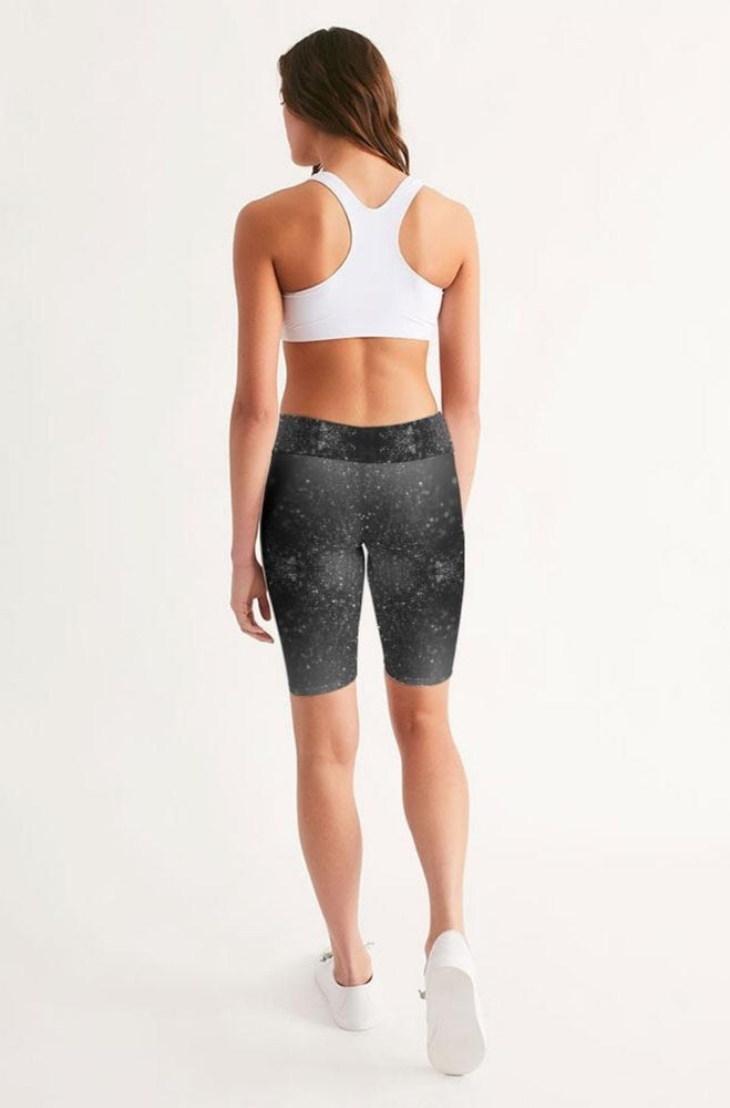 Load image into Gallery viewer, Black Glitter Mid-Rise Bike Shorts