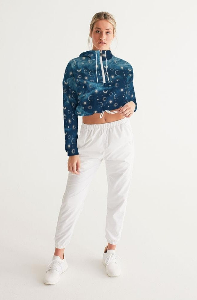Silver Moons Cropped Windbreaker
