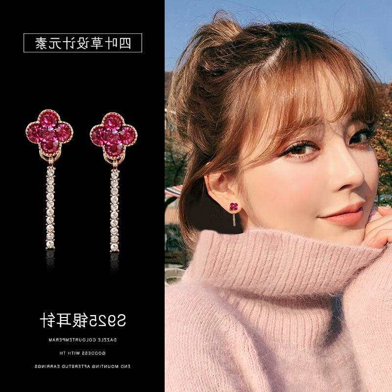 Anting Clover stud anting-anting wanita sweet red panjang anting-anting wanita