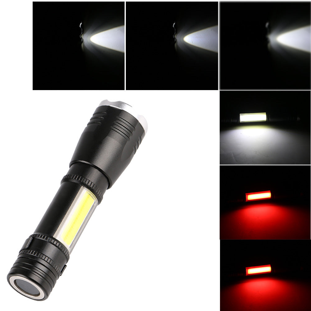 Senter Mini pengisian retractable dimmable cahaya yang kuat senter outdoor tahan air sabuk magnetik COB lampu kerja lampu laporan - OCISTOK.COM