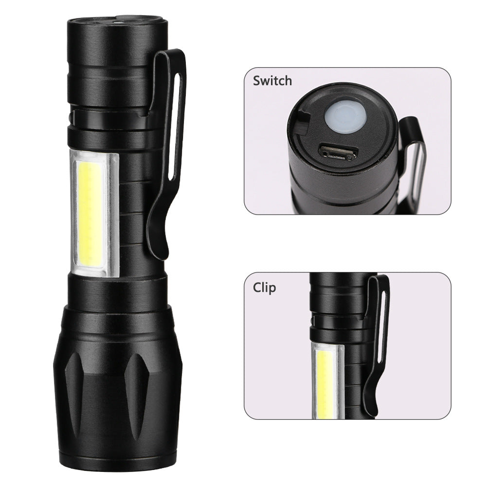 mini senter LED lampu outdoor COB lampu senter mini USB pengisian senter dengan Pemegang Pena - OCISTOK.COM