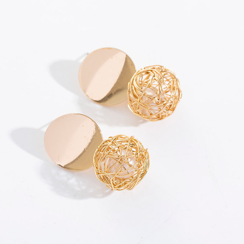 Anting retro geometris anting-anting sederhana anyaman bola mutiara anting-anting