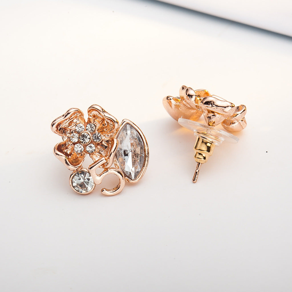 anting-anting Bunga Diamond anting-anting elegan bunga daun anting-anting