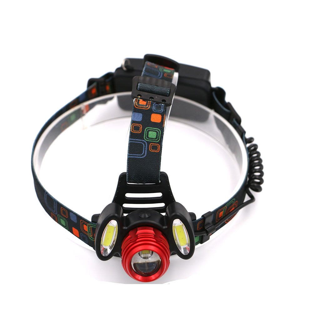 Headlamp adjustable fokus headlamp 1T6 2COB lampu depan LED aluminium alloy kuat cahaya T6 headlamp - OCISTOK.COM