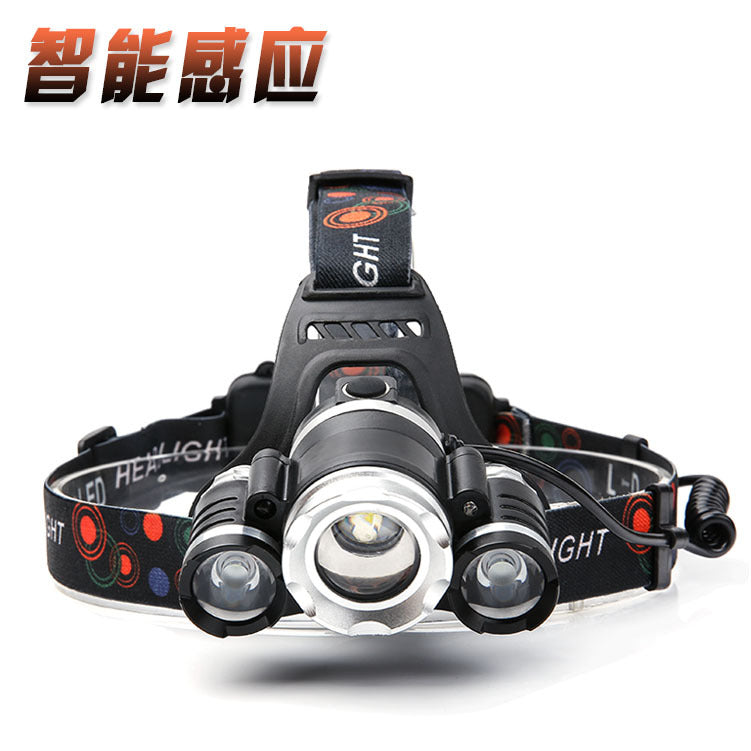 Headlamp outdoor T6 headlamp inframerah induksi headlamp 3LED headlamp paduan aluminium fokus - OCISTOK.COM