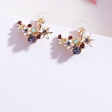 Anting manis bunga stud anting-anting kristal berwarna anting-anting berlian elegan keren menggantung fashion anting-anting