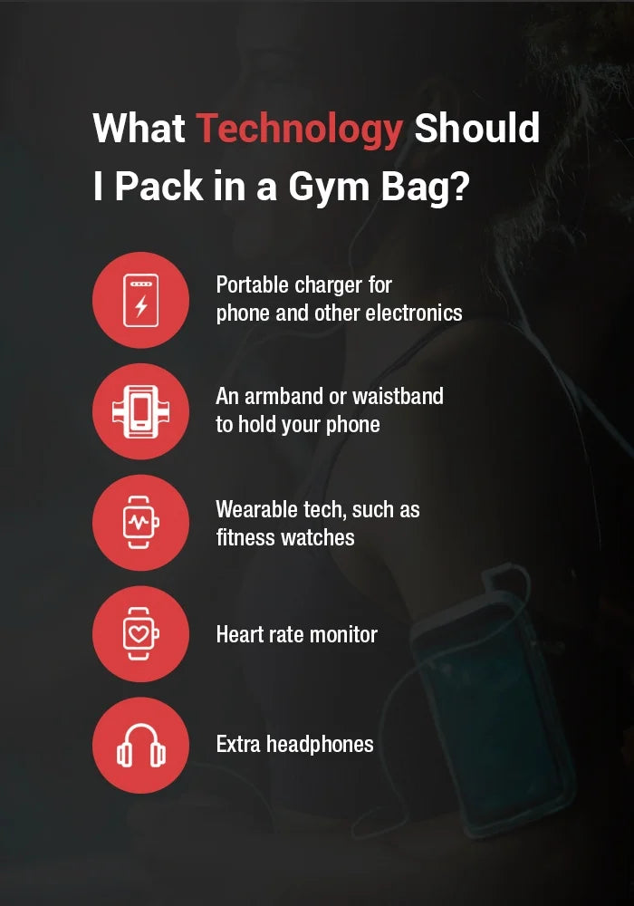 what technology should i piack in a gym bag