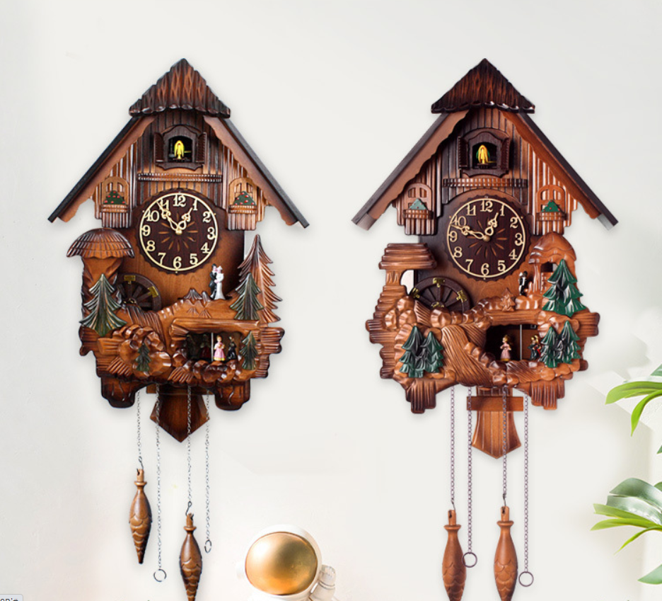 Wooden house wall clock