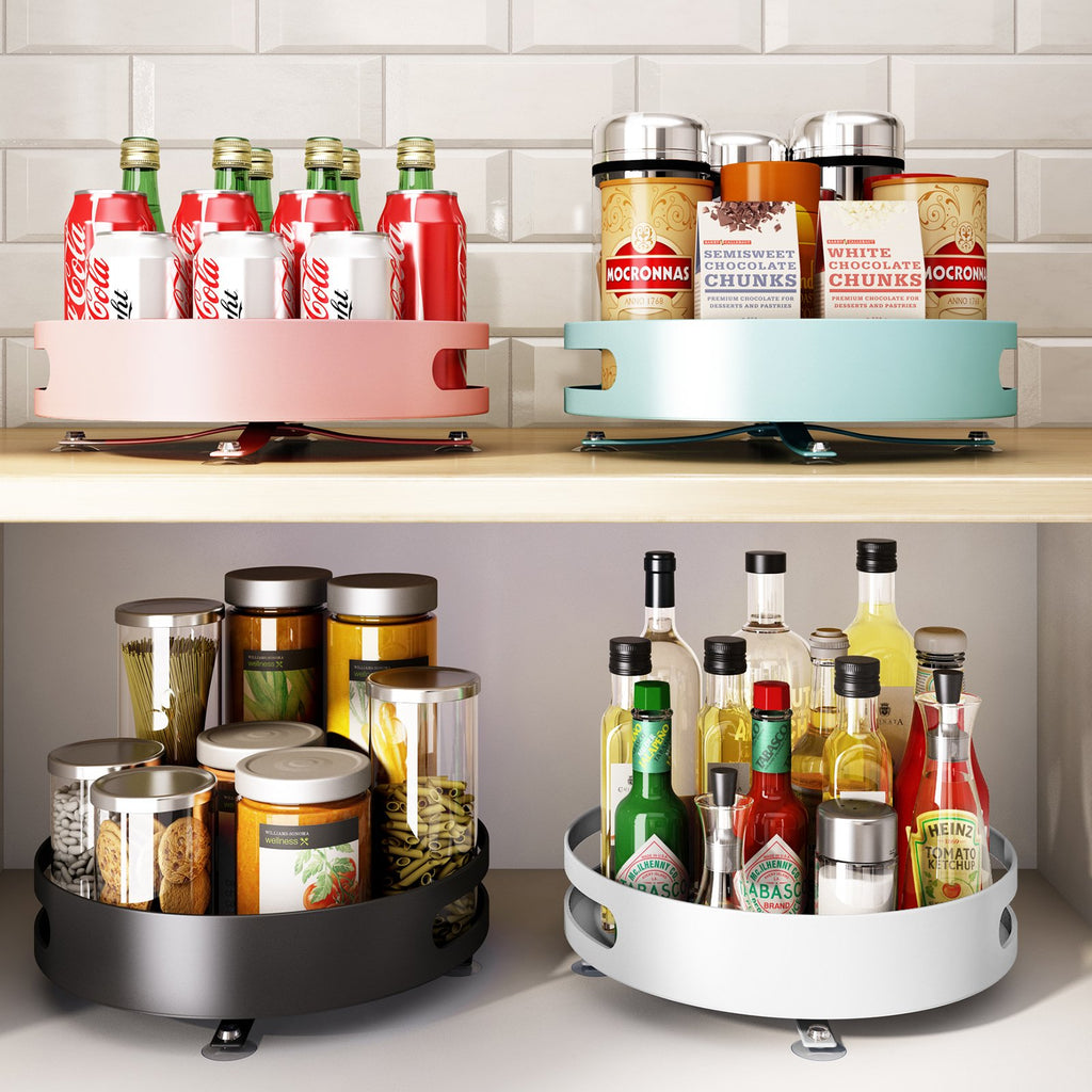 【Ship from warehouses nearby + FBA Receipt within 2-3 days!】Rotatable Spice Rack Plate, 360 Degree Rotating Storage Container Organizer Multifunctional Kitchen Rackfor Cabinets, Pantry, Fridge, Countertops - Spinning Organizer,Metal