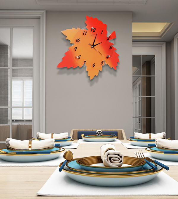Gradient Maple Leaf Wall Clock