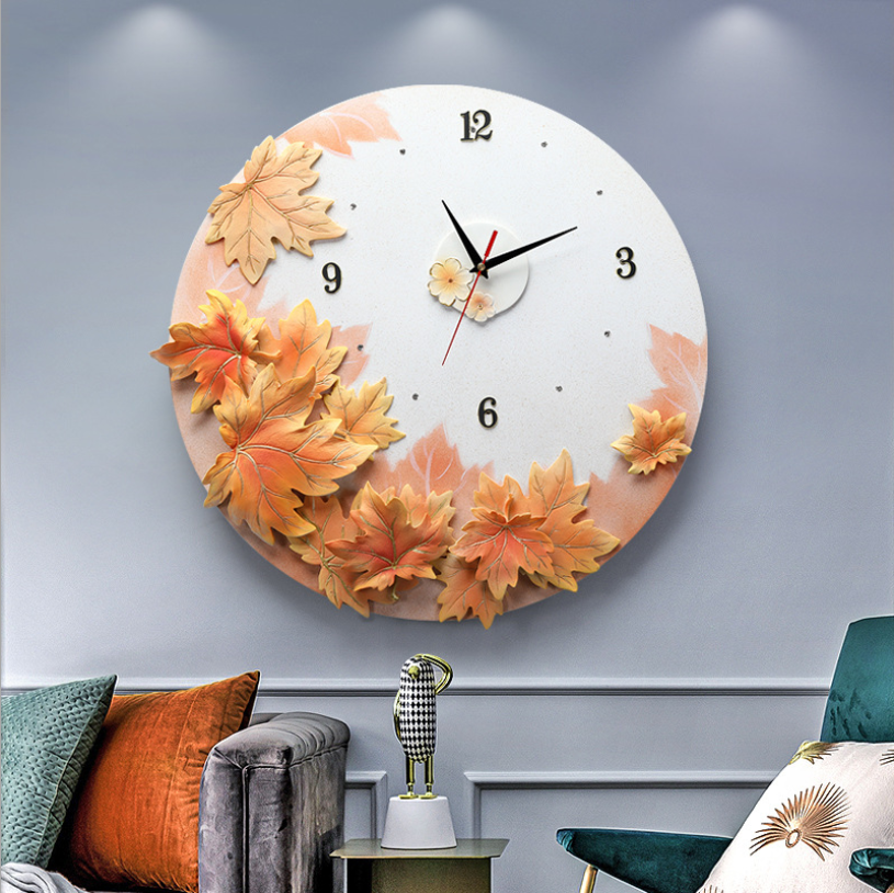 Light luxury maple leaf wall clock