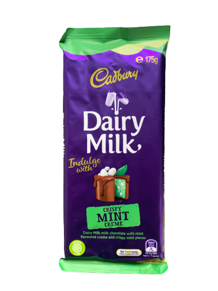Cadbury Crispy Mint Creme Chocolate Block 175g