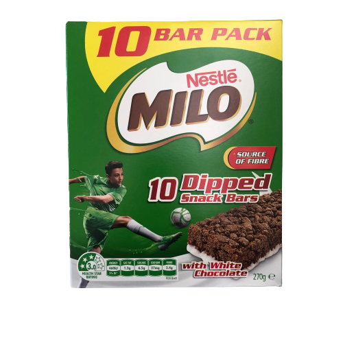 Milo - Dipped Snack Bars with White Chocolate - 10 bars