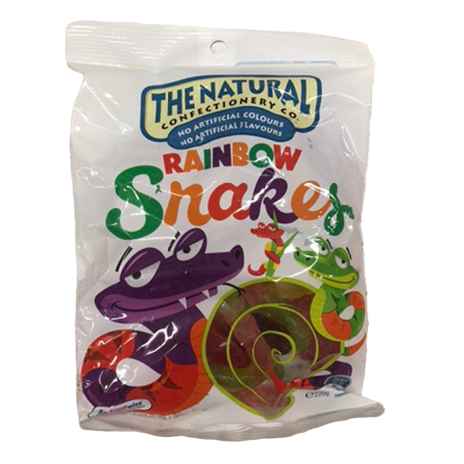 The Natural Confectionery Co Rainbow Snakes 220g bag