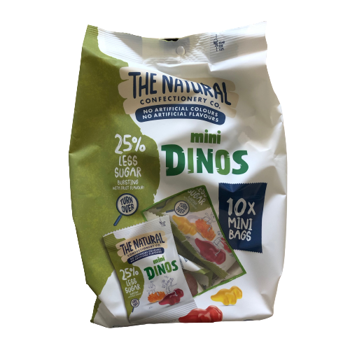 Natural Confectionery Co mini dinos 25% less sugar 300g (10x mini bags)