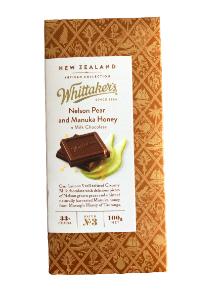 Whittaker's Nelson Pear and Manuka Honey in Milk Chocolate 100g