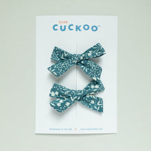 Load image into Gallery viewer, blue floral pigtail bows