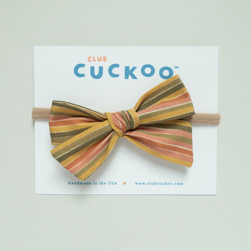 striped nylon headband bow