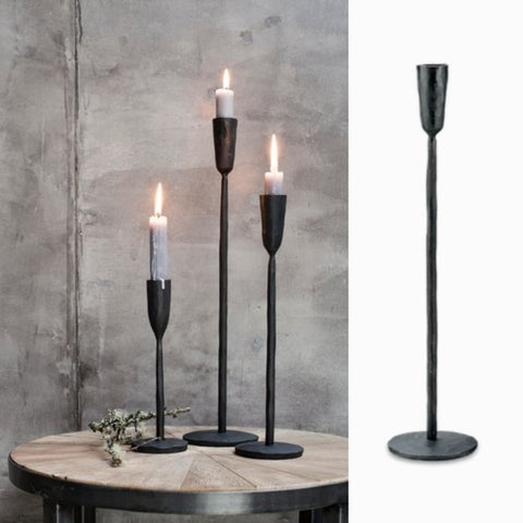 Rustic single stem candle stick - (Large) Antique Black