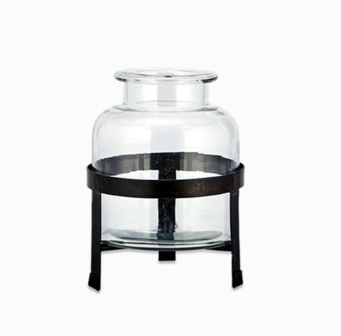 Glass Vase on Iron stand