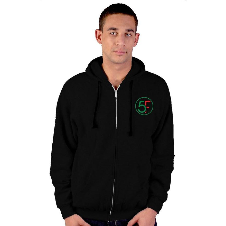 Embroidery Zip Up Hoodie - 5iveFace