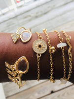 SALE 50% OFF: 5pcs Mixed Gold Charm Bracelets/Bangle for Women Clear Droplets Crystal Arrow Pink Stone Crystal Sundial V Bracelet