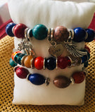 3pcs Women's Bead Bracelet Vintage Bracelet/ Bracelet Layered Elephant Heart Angel Wings Classic Ethnic Fashion Boho Acrylic Bracelet Jewelry in Rainbow / Red / White