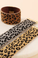 Thick Animal Print Bracelet in Faux Calf Hair