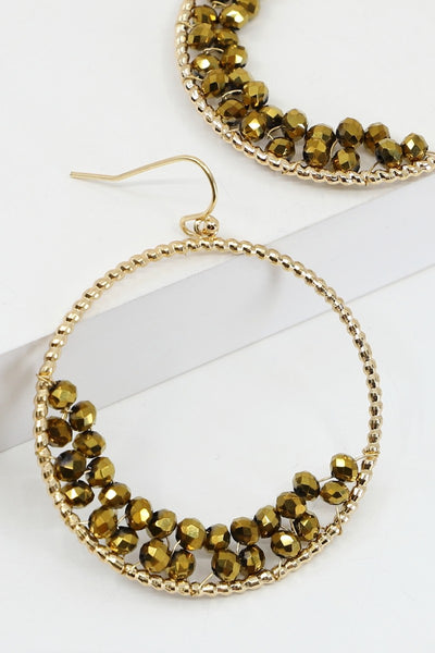Gold Dangling Hoops with Crescent Beading