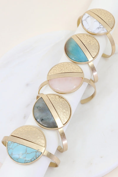 Hammered Metal and Stone Accent Bangle
