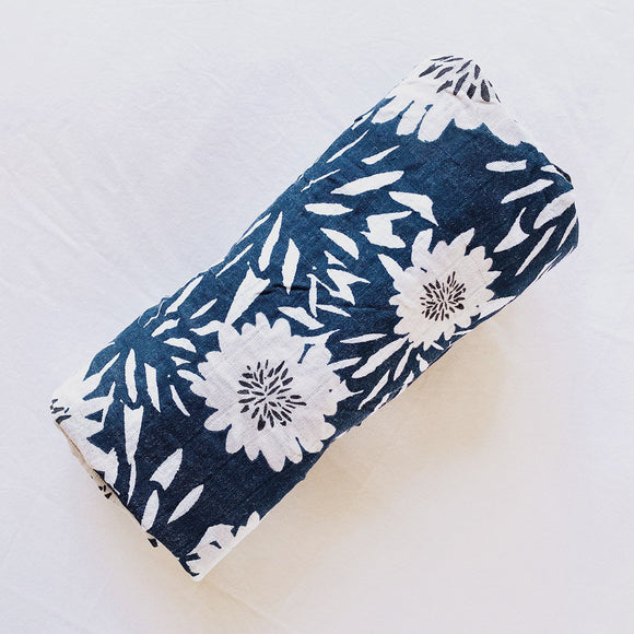 100% Cotton Baby Muslin Swaddle/Wrap - Navy Blue Floral - Mama Kisses