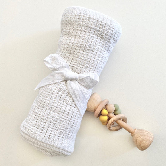 100% Cotton Classic Knitted Baby Blanket - White - Mama Kisses