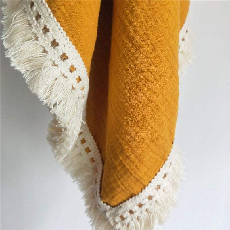 100% Cotton Muslin Swaddle with Fringe - Mustard Yellow - Mama Kisses