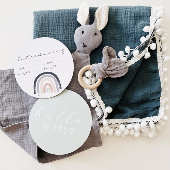 Bundle of Fun - 4 Piece Gift Set | Baby Wrap, Milestone Cards | Free Shipping - Mama Kisses
