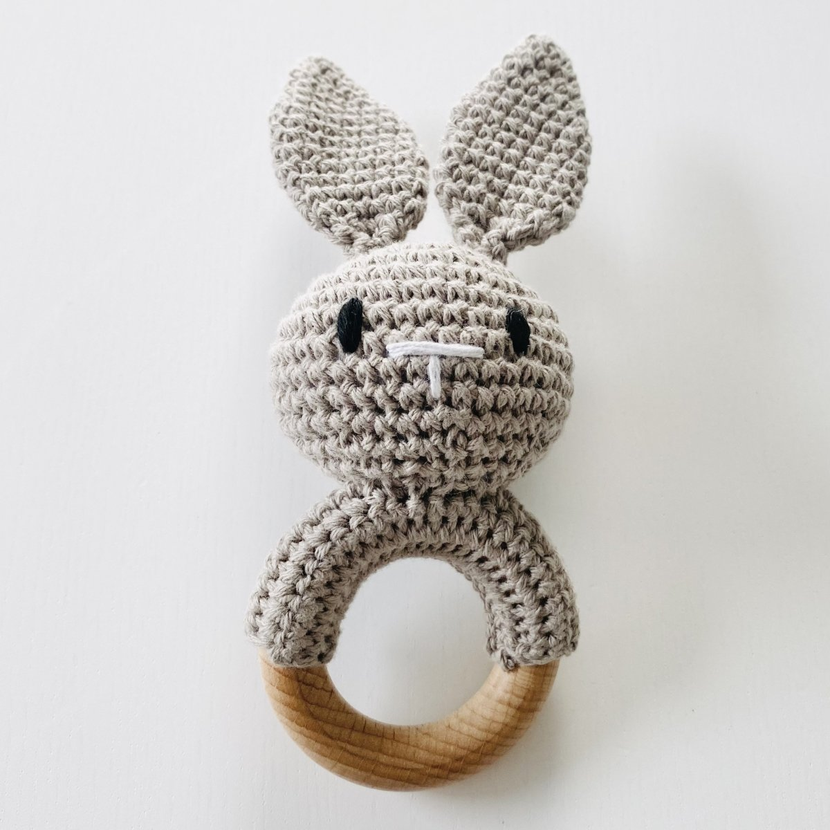 Bunny Crochet Rattle - Warm Grey - Mama Kisses