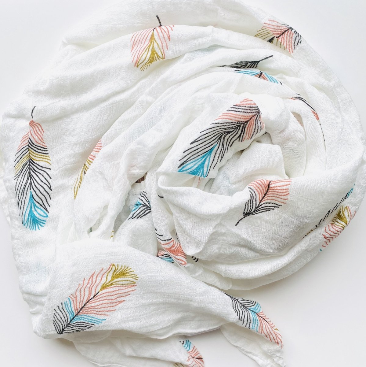 Coloured Feather Bamboo & Cotton Blend Muslin Wrap - Mama Kisses