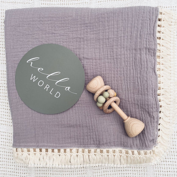 Double Layer Muslin Swaddle with Fringe - Mauve - Mama Kisses